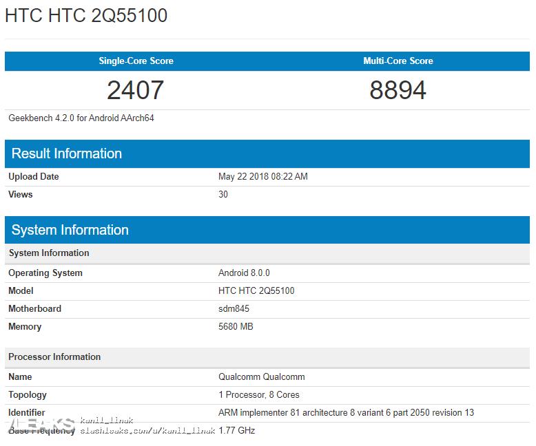 img HTC U12+ in Geekbench