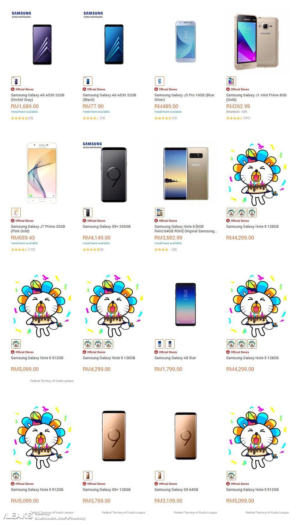 img 128GB + 512GB Samsung Galaxy Note9 price leaked on lazada