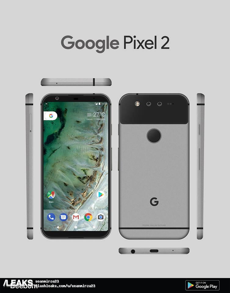 img Google Pixel 2 Render different Dual Rear Camera Design