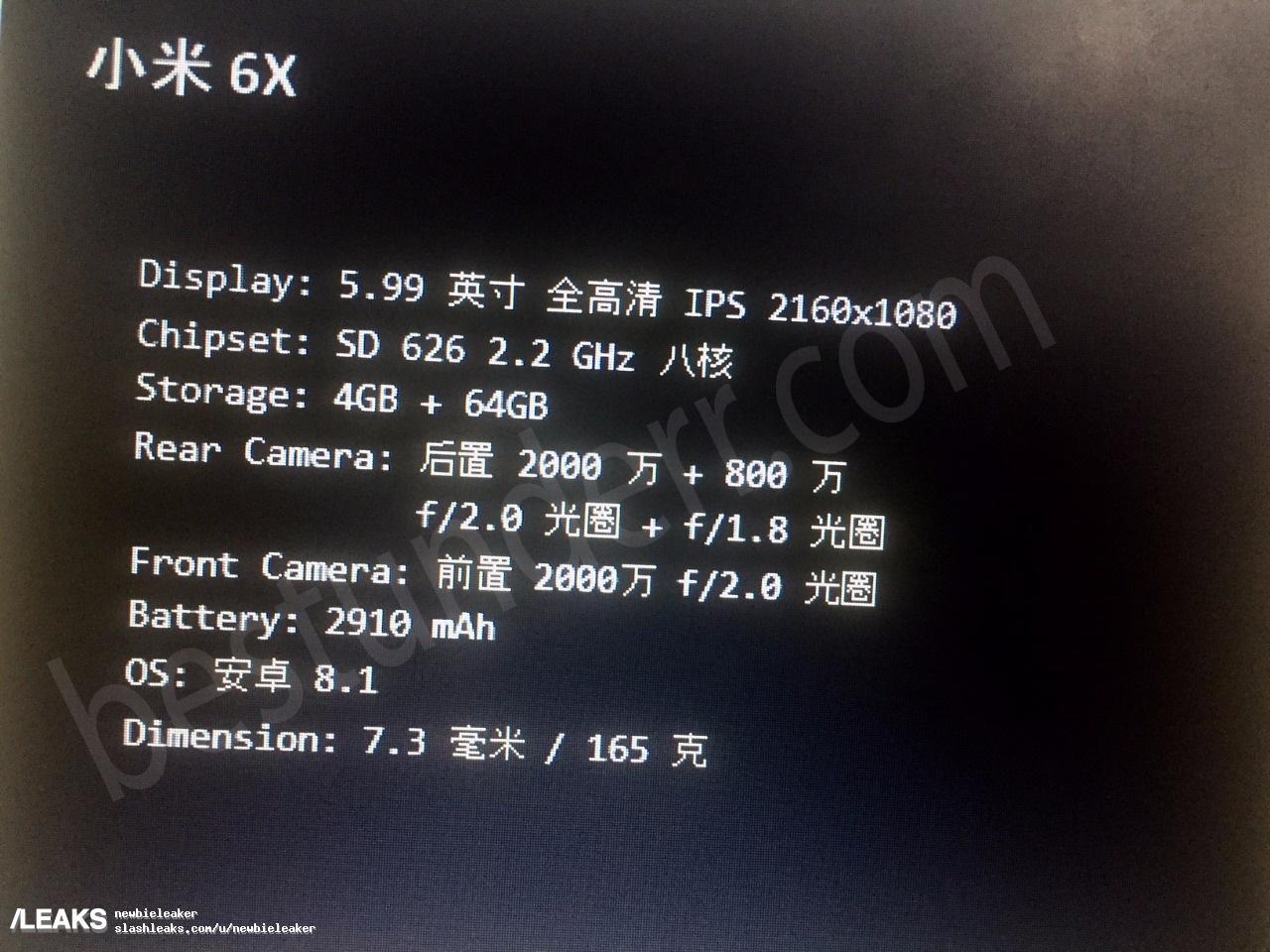 img Mi 6X/A2 Spec Sheet Confirms Snapdragon 626 and Dual Cameras