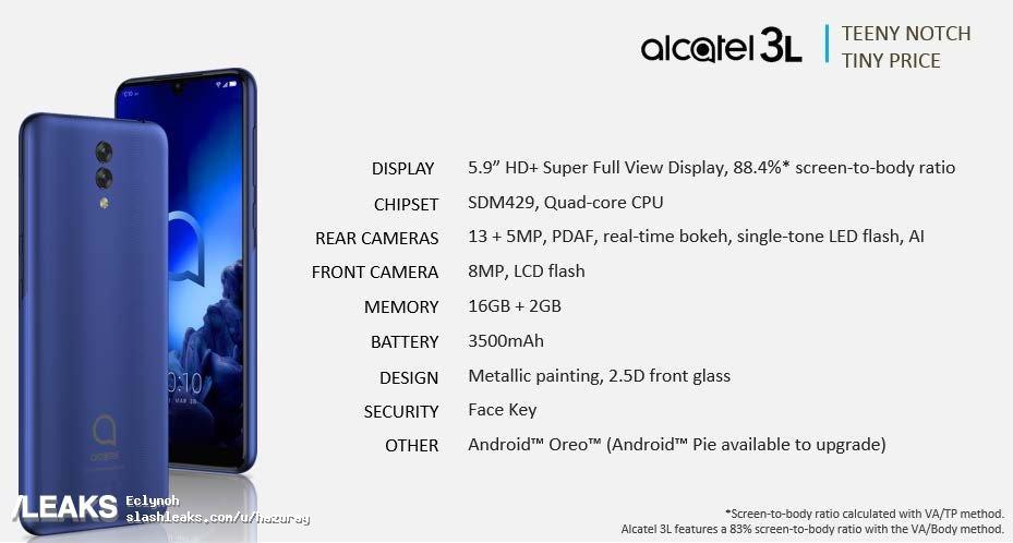 img Alcatel 3L (2019) design + specs
