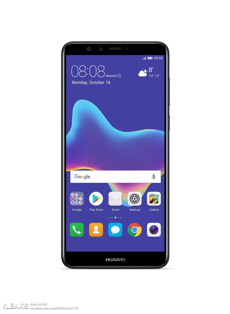 img Huawei Y9 (2018) press renders in black, blue, gold + full specs