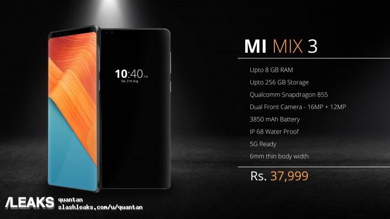 img Xiaomi Mi Mix 3 leaked poster