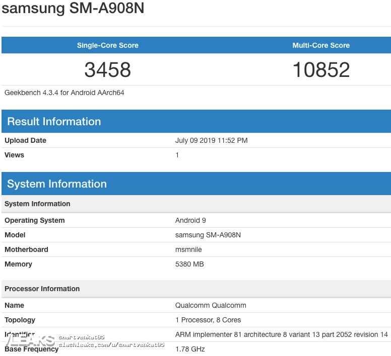 img Galaxy A90 5G (SM-A908N) SDM855, 6GB RAM & Android 9 Geekbench
