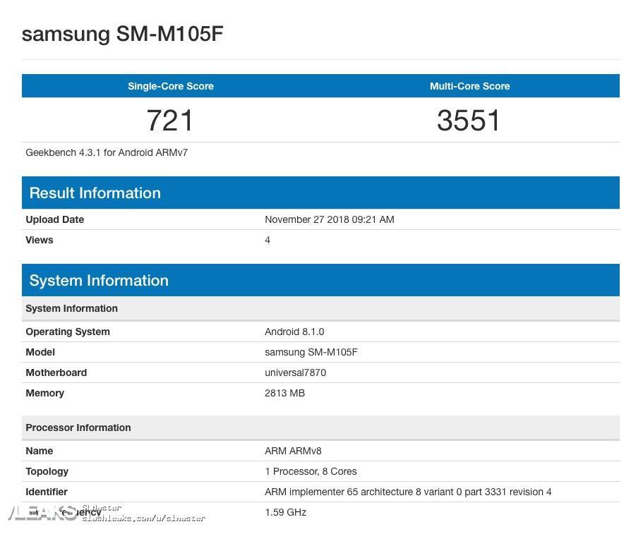 img Galaxy M10 leak on Geekbench