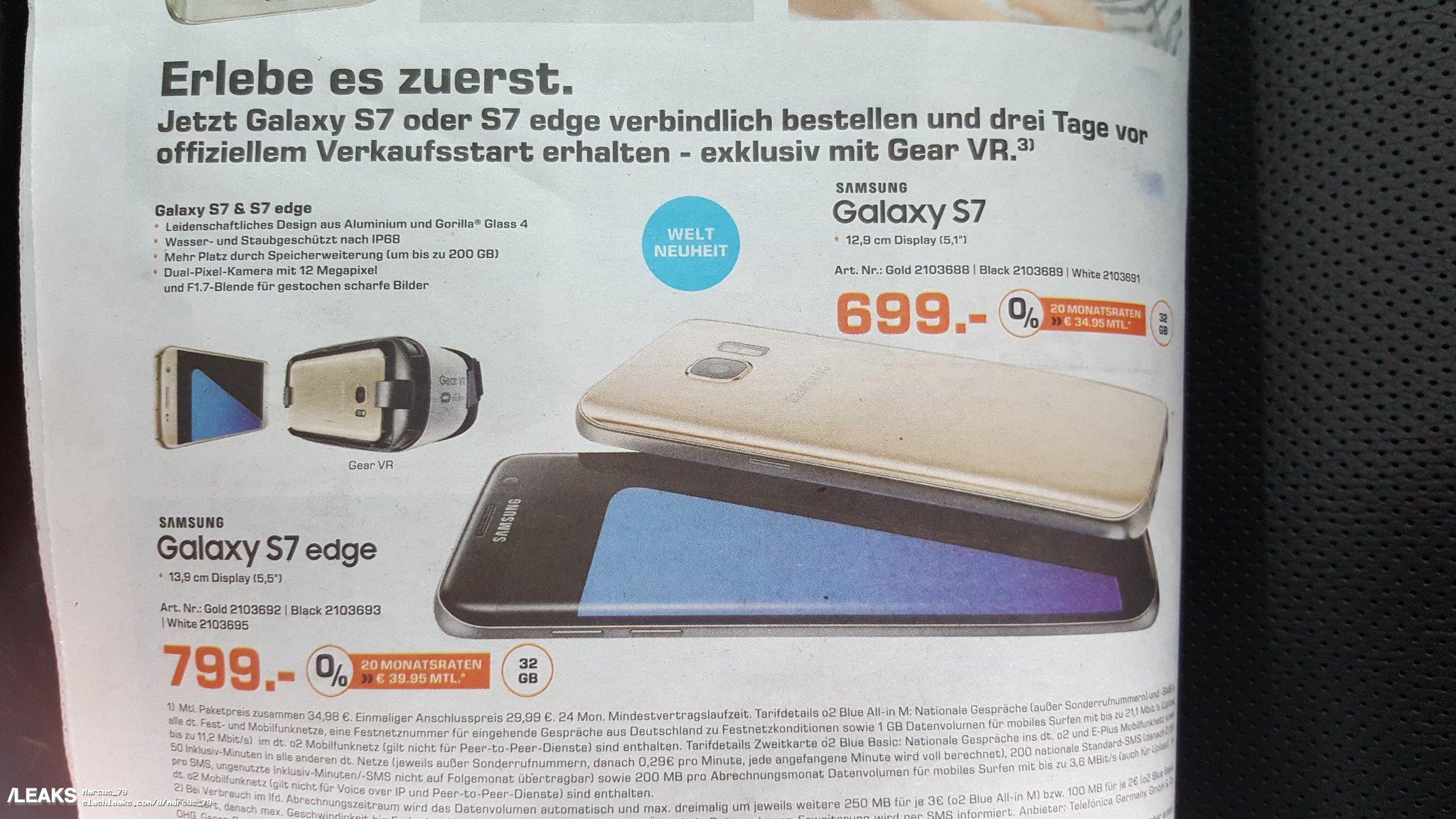 img German retailer confirms Galaxy S7 & Galaxy S7 Edge prices