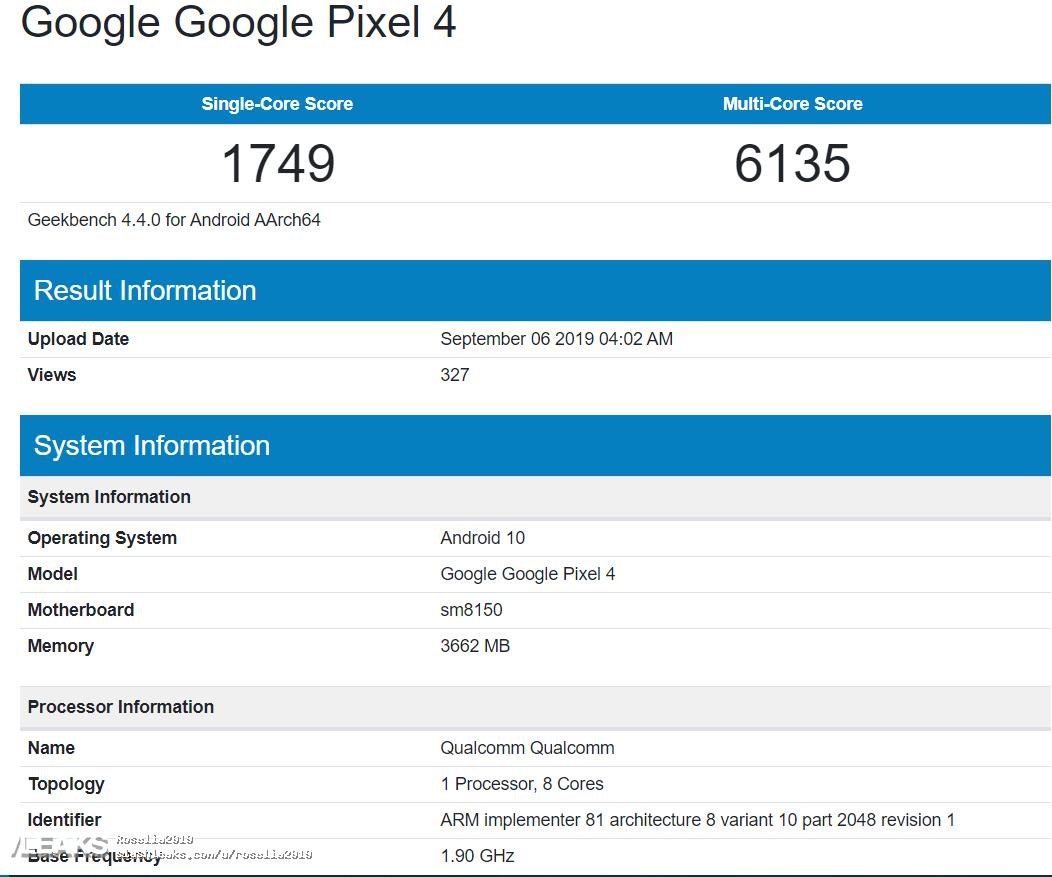 img Google Pixel 4 Geekbench Runmark Leaks