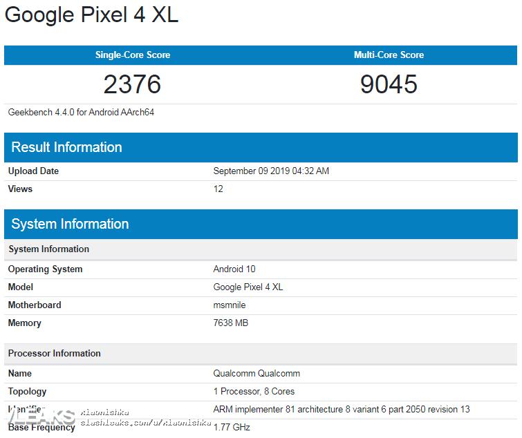 img Google Pixel 4 XL GeekBench (8GB RAM)