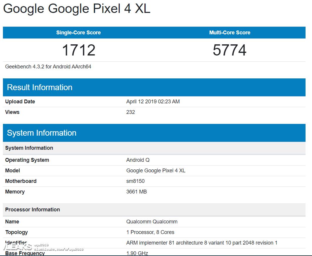 img Google Pixel 4 XL Geekbench Runmark Leaks