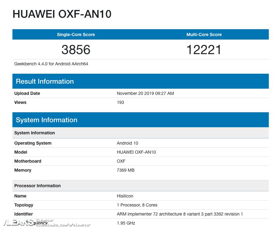 img Honor V30 5G Geekbench Runmark Leaks