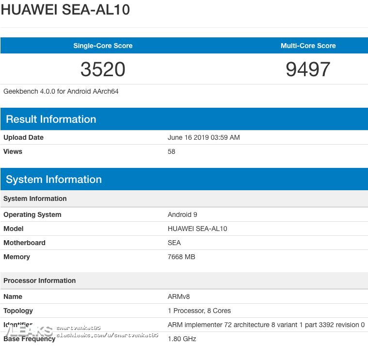 img Huawei Nova 5 With 8GB RAM, Kirin 980 & Android 9 Geekbench [UPDATED: Nova 5 Pro]
