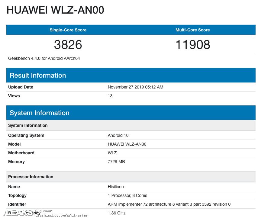 img Huawei Nova 6 5G 8GB RAM, Android 10 Geekbench