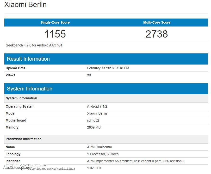 img Xiaomi Berlin in Geekbench [UPDATED: Redmi 7]