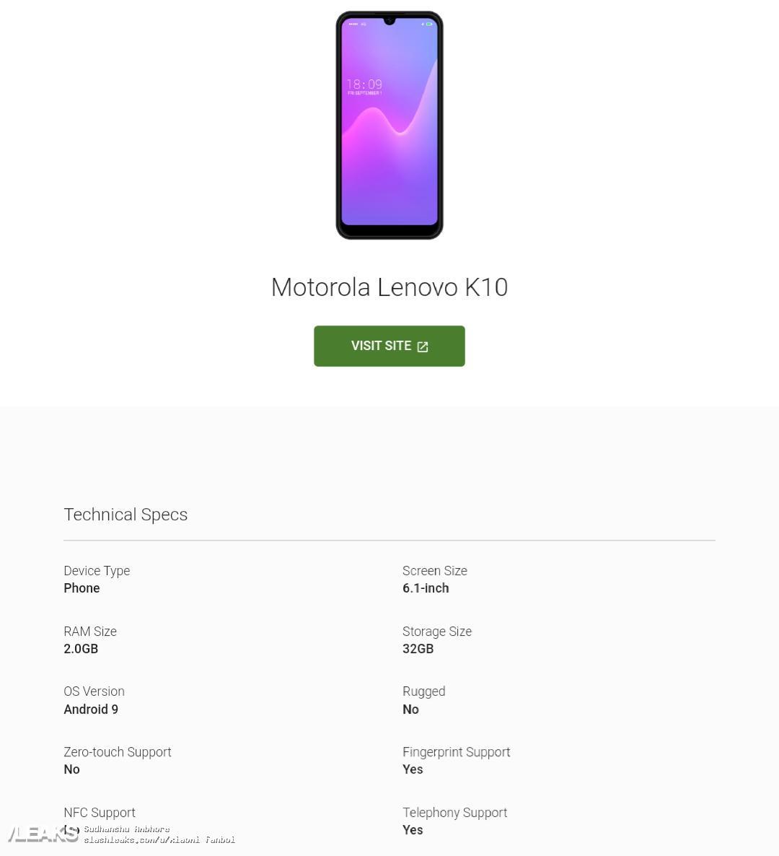 img Lenovo K10 key specs and render