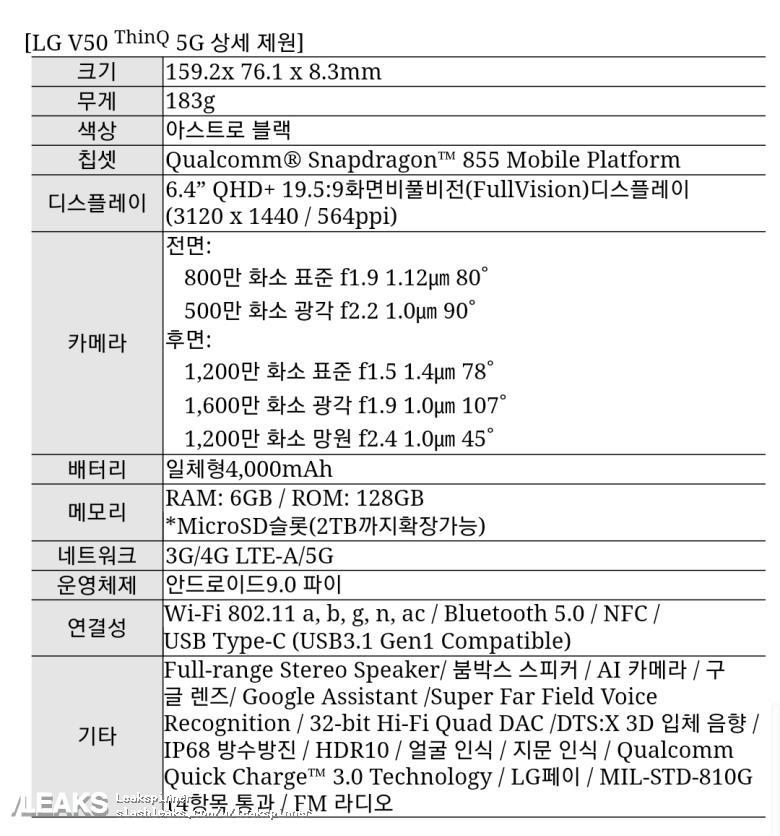 img LG V50 full specs leaked
