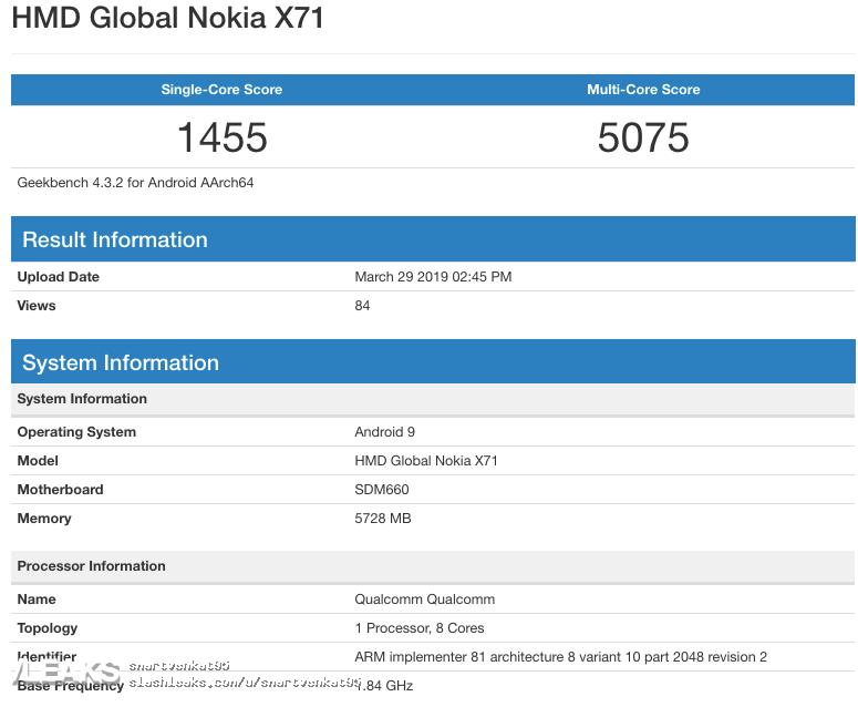 img Nokia X71 Geekbench Specs SDM660, 6GB RAM, Android 9