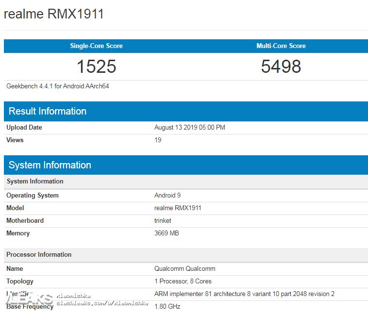 img realme RMX1911 (Realme 5) on Geekbench