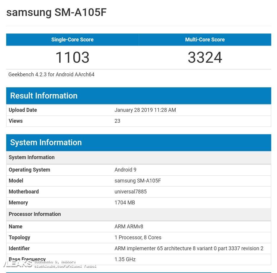 img Samsung Galaxy A10 Spoted on Geekbench with Exynos 7885, 2 GB RAM