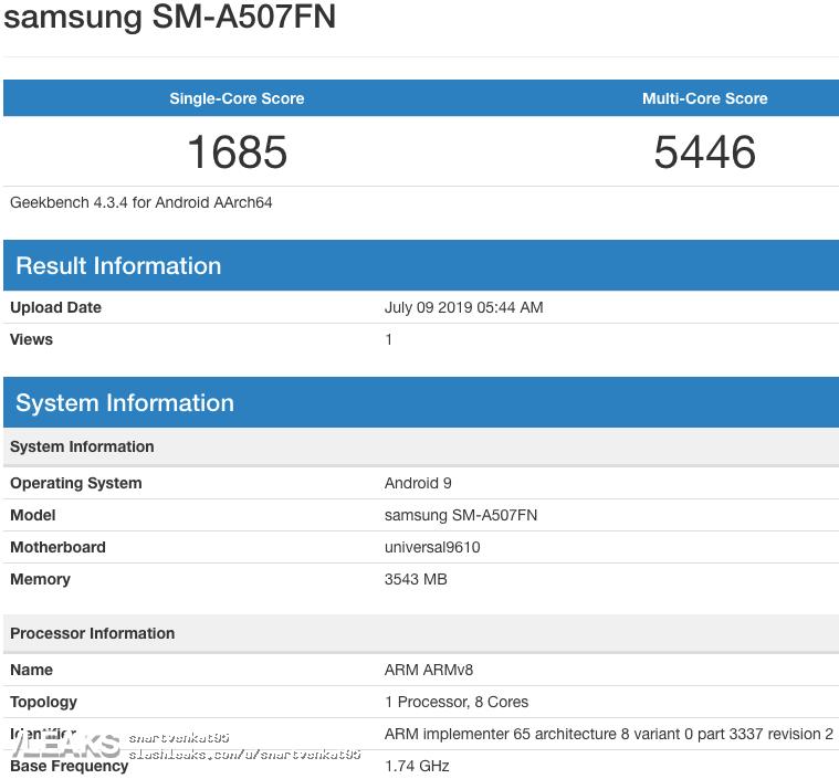 img Samsung Galaxy A50s (SM-A507FN) Exynos 9610, 4GB RAM & Android 9 Geekbench