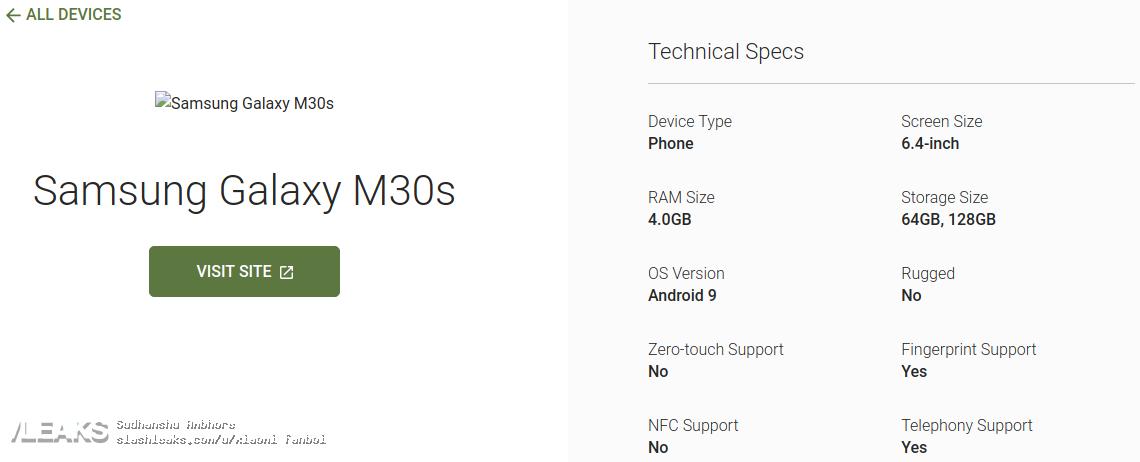 img Samsung Galaxy M30s principais especificações técnicas