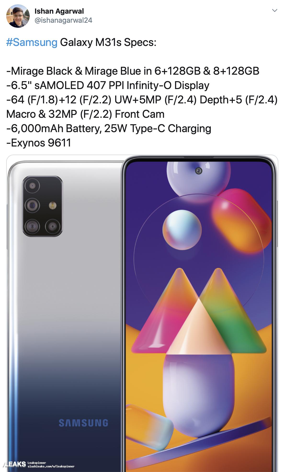 img Samsung Galaxy M31s full specs leaked