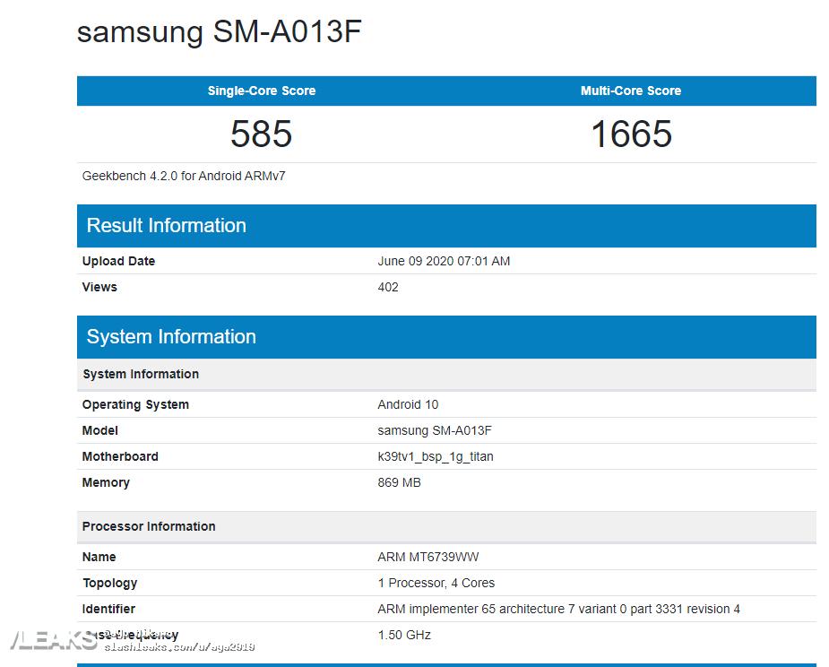 img Samsung SM-A013F (Galaxy A01e?) Geekbench runmark leaks