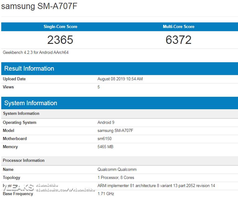 img Samsung SM-A707F (Galaxy A70s) GeekBench