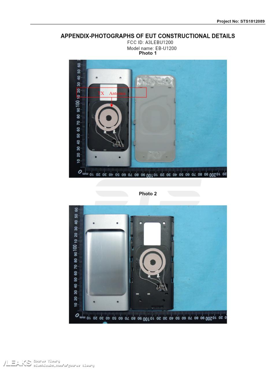 img Samsung wireless Power bank A3LEBU1200 through via FCC showing its manual and External Photo.