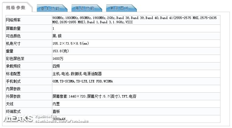 img Lenovo K320 full specs (TENAA)
