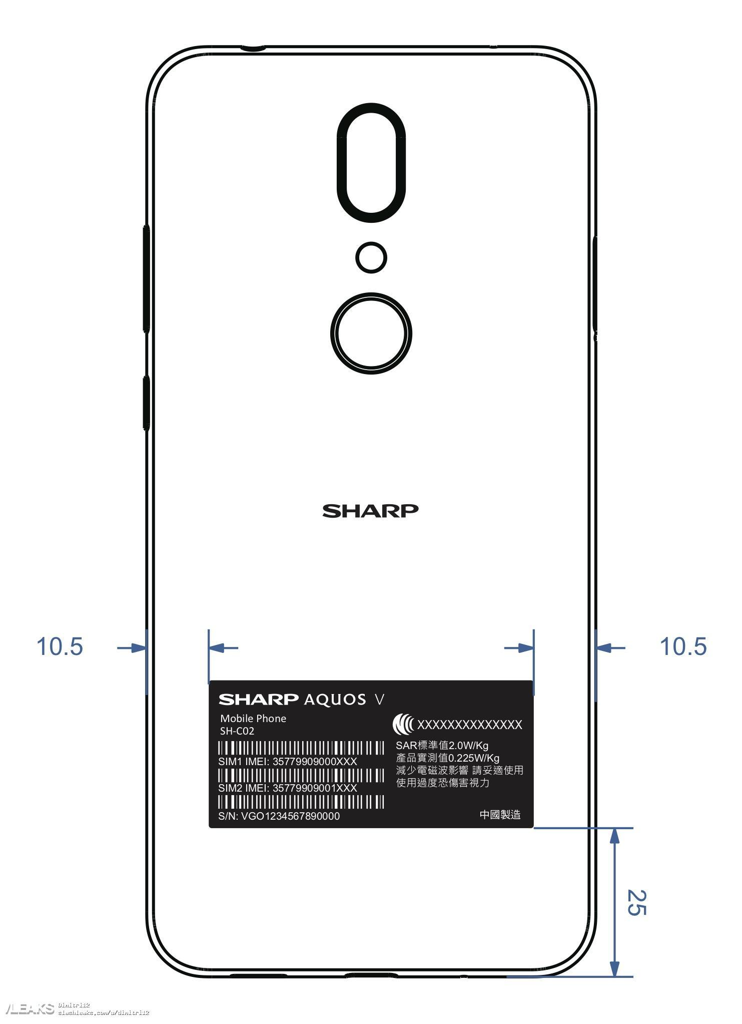 img Sharp Aquos V (SH-C02) schematics leaked by FCC