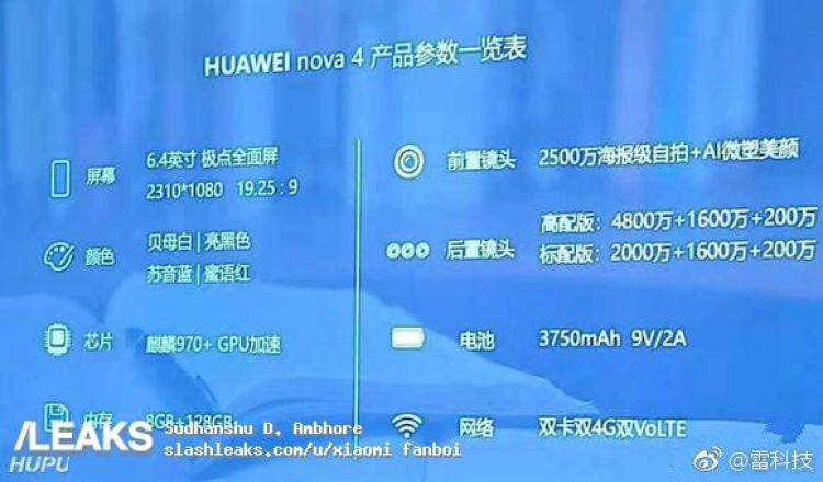 img Huawei Nova 4 specs leaked