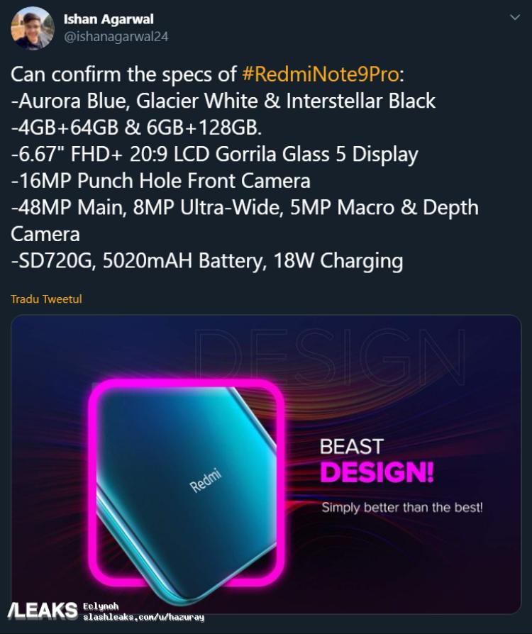 img Redmi Note 9 Pro Key Specs Leaked