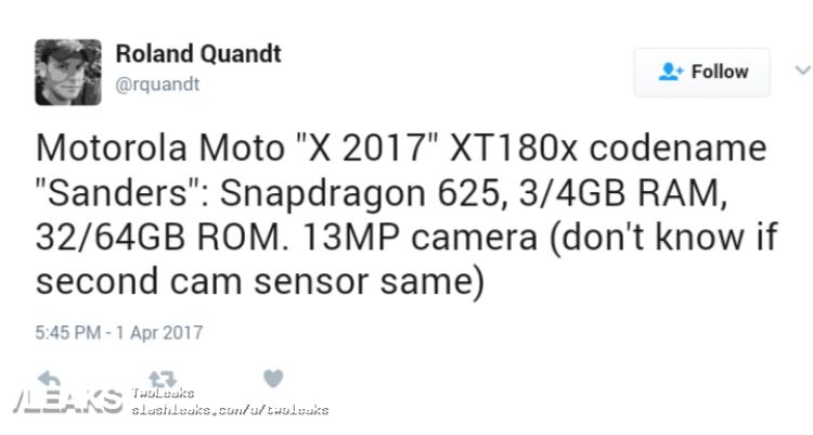img Moto X (2017) specs leaked [UPDATED: Moto G5s Plus]