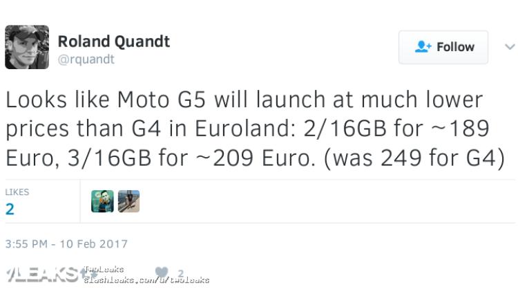img Moto G5 price leaked in Euroland