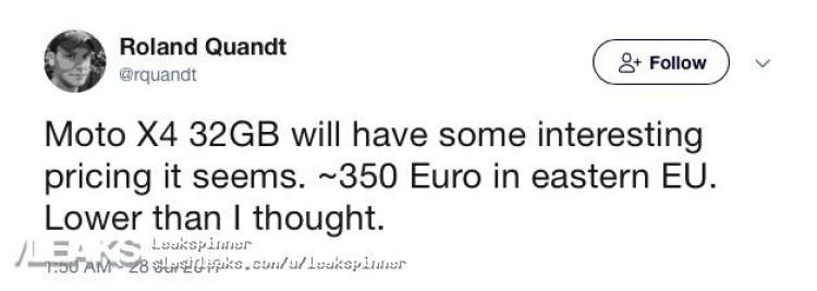 img 32GB Moto X4 to be priced €350 (eastern EU)