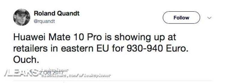 img Huawei Mate 10 Pro to be priced €930-940 (Eastern EU)
