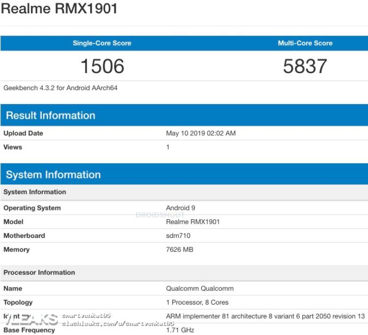 img Realme X SDM 710, 8GB RAM, Android 9 Geekbench