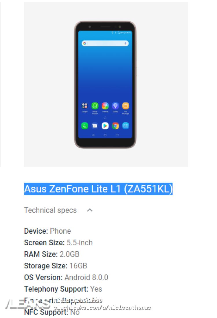 img Asus ZenFone Lite L1 (ZA551KL) Image & Specs Leak