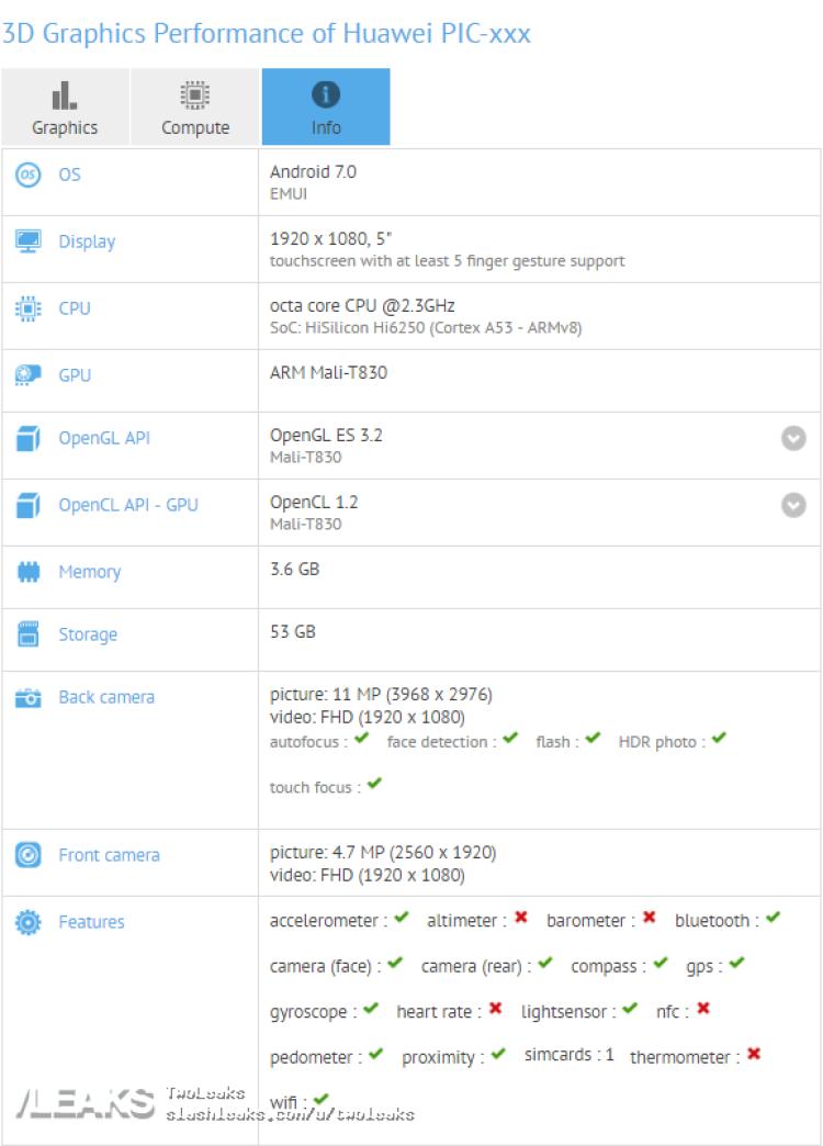 img Huawei Nova 2 spotted on GFXBench