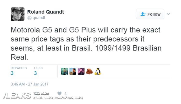 img Moto G5 and Moto G5 Plus price leaked in Brasil