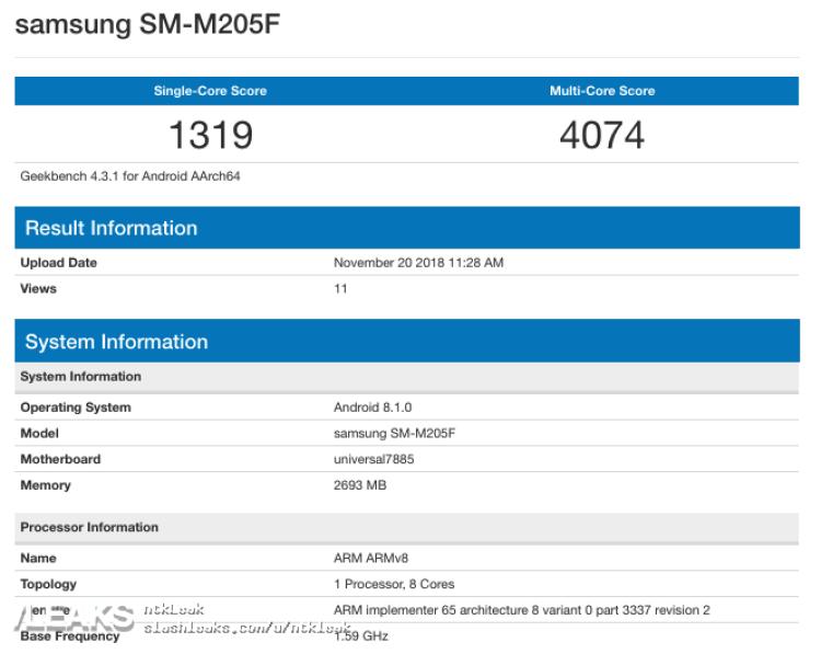 img Galaxy M20 Exynos 7885 Geekbench leaked