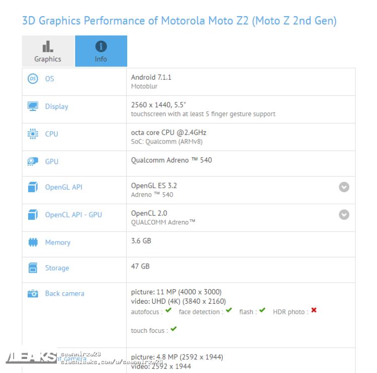 img Moto Z2 Specs Confirmed via GFXBench