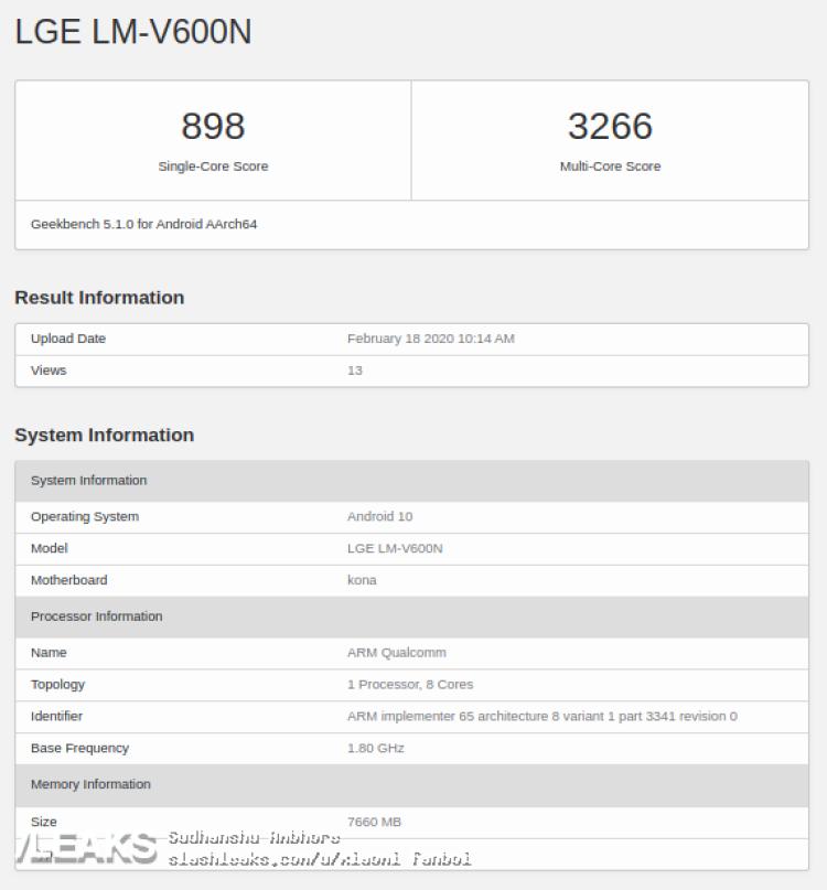 img LG V60 ThinQ 5G visits Geekbench with Snapdragon 865 & 8GB RAM
