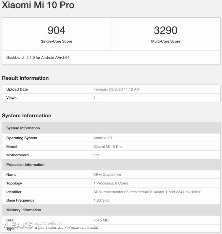 img Mi 10 Pro 8GB RAM, Android 10 Geekbench