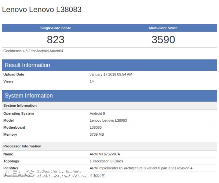 img New Mid-Range Lenovo smartphone with 4GB RAM & MediaTek Helio P22 SoC Shows up on Geekbench [UPDATED: Lenovo K6]