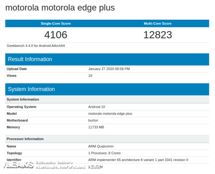 img Motorola Edge+ visits Geekbench with Snapdragon 865 & 12GB RAM