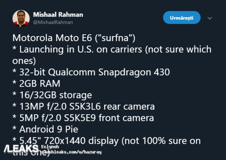 img Motorola Moto E6 Specifications Leaked