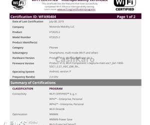 Motorola XT2025-2 WI-FI ALLIANCE APPEARANCE
