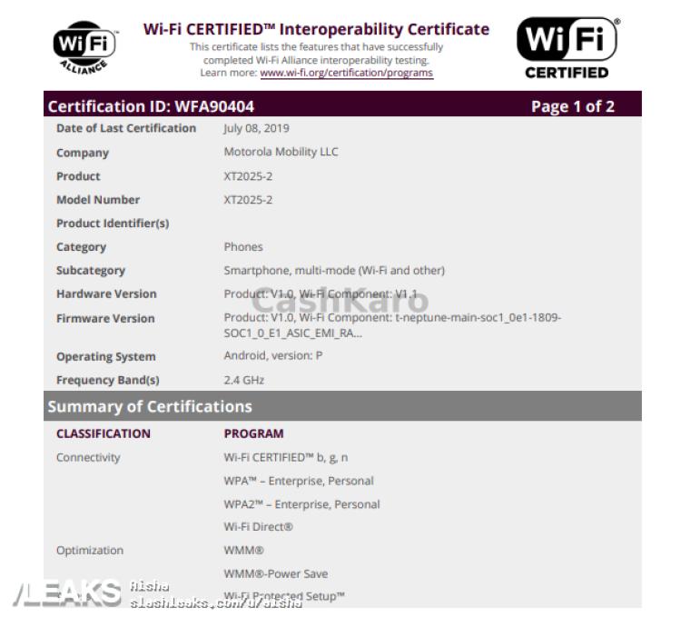 img Motorola XT2025-2 WI-FI ALLIANCE APPEARANCE