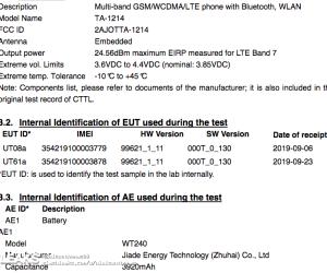 Nokia TA-1214 3920mAh Battery Capacity Via FCC